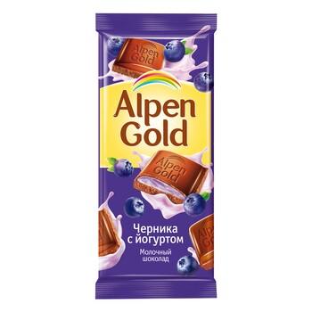 Шоколад Alpen Gold молочный с чернично-йогурт, 90 гр