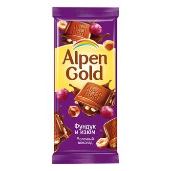 Шоколад Alpen Gold молочный с фундуком и изюмом, 90 гр