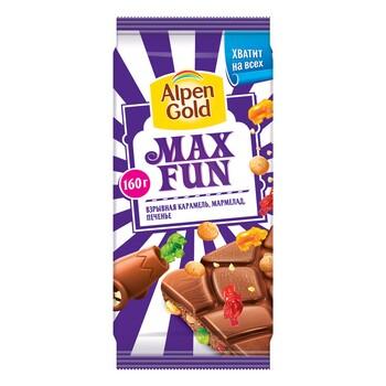 Шоколад Alpen Gold Max Fun со взрывной карамелью, мармеладом и печеньем 160 гр