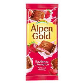 Шоколад Alpen Gold молочный с клубнично-йогурт, 90 гр