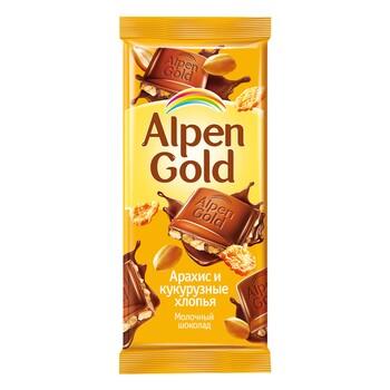 Шоколад Alpen Gold молочный арахис-кукурузные хлопья 90 гр