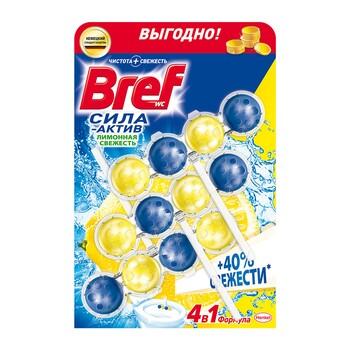 Bref туалетный блок Сила-Актив Лимонная свежесть, 3х50 г
