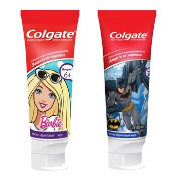 """Детская зубная паста Colgate """"Batman, Barbie"""" для детей 6+, 75 мл"""