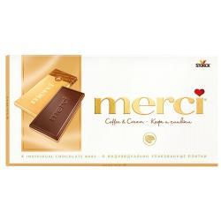 Шоколад Merci молочный и белый порционный кофе и сливки, 100 г