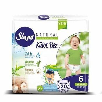 Подгузники Sleepy Natural Külot X Large 6, 15-25 кг 20 шт