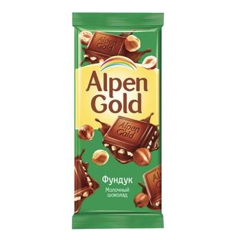 Шоколад Alpen Gold молочный с фундуком, 90 гр