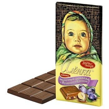 Шоколад Алёнка молочный с дробленым фундуком и изюмом, 100 г