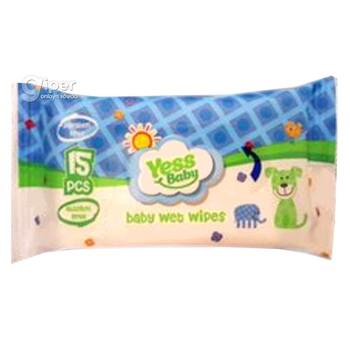 Влажные салфетки Yess baby безалкогольная  15шт