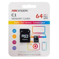 Карта памяти Hikvision HS-TF-C1(STD) 64G + Adapter