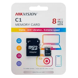 Карта Памяти MicroSD HikVision HS-TF-C1(STD) 8G + Adapter