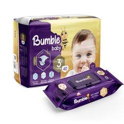 Подгузники Bumble baby 3, 4-9 кг, 40 шт + влажная салфетка