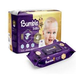 Подгузники Bumble baby 4, 7-18 кг, 36 шт + влажная салфетка