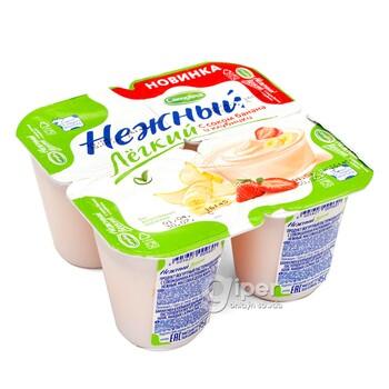 Йогурт Нежный лёгкий с бананом и клубникой, 0.1%, 95 г