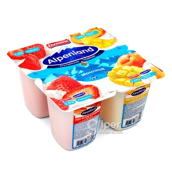 Йогурт Alpenland молочный клубника, манго-персик 2,5%, 95 г