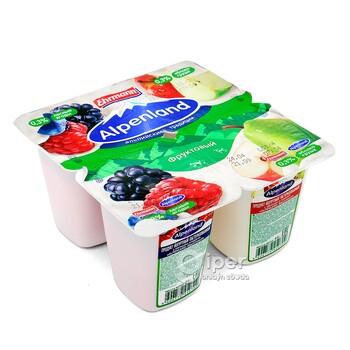 Йогурт Alpenland фруктовый, лесные ягоды, яблоко-груша 0,3%, 95 г
