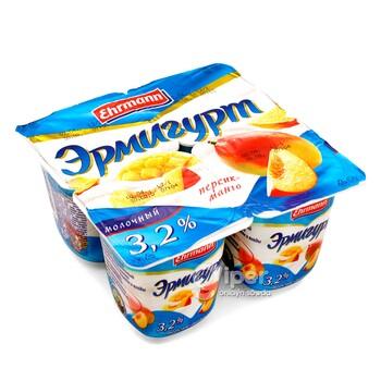 Йогурт Эрмигурт Mолoчный, персик-манго 3,2%, 100 г