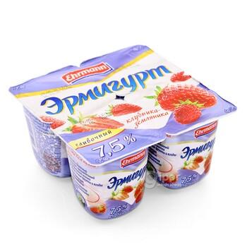 Йогурт Эрмигурт клубника-земляника 7,5%, 100 г