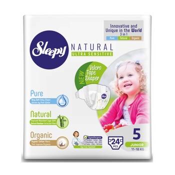 Подгузники Sleepy Natural Junior 5, 11-18 кг 24 шт