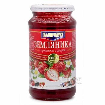 Протертая земляника Главпродукт с сахаром, 550 г