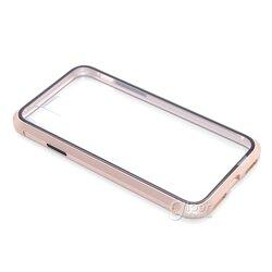 Чехол из металла с магнитной адсорбцией для Apple iPhone XS, прозрачный-золотистый