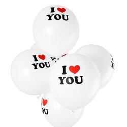 Воздушные шарики I Love You, белые, 12 шт