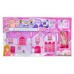 Кукольный домик Dream Room со спальным гарнитуром и куклой - разноцветный