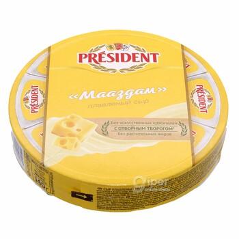 """Плавленный сыр President """"Мааздам"""" 45%, 140 г"""