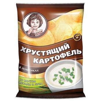"""Чипсы """"Хрустящий картофель"""" со вкусом сметаны и лука, 70 г"""