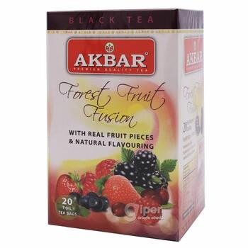 """Akbar чёрный чай """"Фьюжн из лесных фруктов"""", 20 пакетик"""