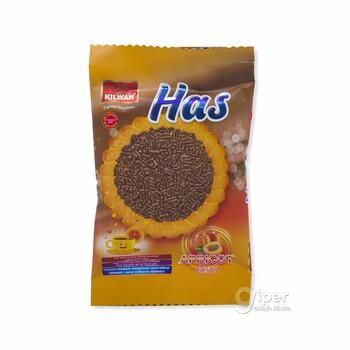 """Сахарное печенье посыпанное желейной шоколадной крошкой """"Has"""" со вкусом абрикоса, 20 г"""