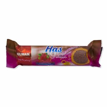"""Сахарное печенье посыпанное желейной шоколадной крошкой """"Has"""" со вкусом клубники, 80 г"""