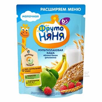 """""""ФрутоНяня"""" детская, молочная мультизлаковая каша, яблоко, банан и земляника, 200 г"""