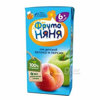 Сок детский яблоко и персик ФрутоНяня, 200 мл.