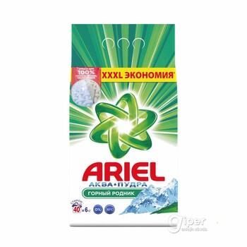 """Стиральный порошок """"Ariel"""" автомат аква - пудра, горный родник, 6 кг."""