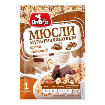 Мюсли Preston Мультизлаковые с шоколадом и орехами, 40 г