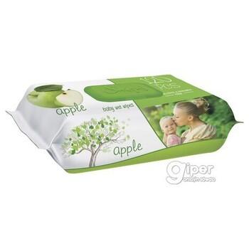 Влажные салфетки SLEEPY яблочный пластиковая крышка, 120 шт