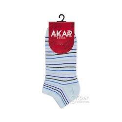 Женские носки укороченные в полоску AKAR BBL02A, 36-40 размер, небесно-голубой