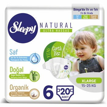 Подгузники Sleepy Natural X Large 6, 15-25 кг 20 шт