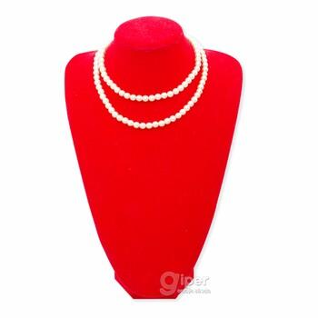 Длинное жемчужное ожерелье из розового круглого жемчуга, b112 (KMA)