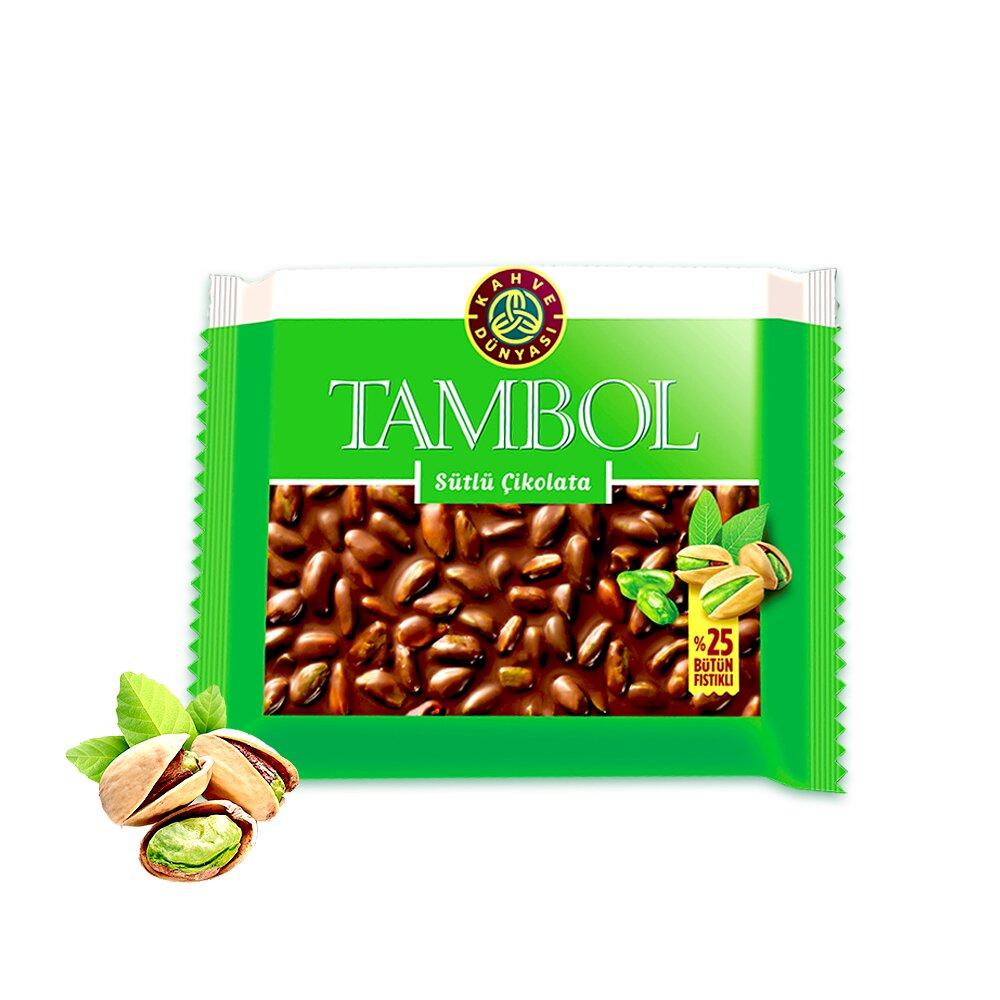 """Молочный шоколад с цельным фисташками премиум класса """"TAMBOL"""", 77 гр"""