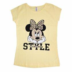 """Хлопковая футболка женская LCN Angel """"Minnie Mouse"""", желтая, разм.XL (KMF018)"""