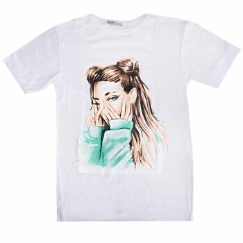 """Хлопковая футболка женская LCN Angel """"Girl"""", белая, разм.S (KMF035)"""
