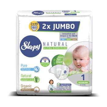 Подгузники Sleepy Natural Jumbo Newborn №1, 2-5 кг 80 шт