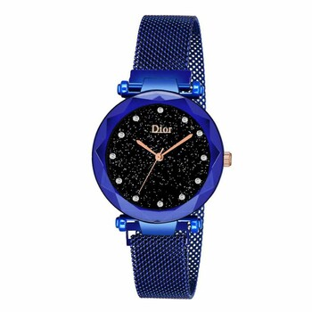 Женские часы на магнитной застежке, синие, b227 (KMA)