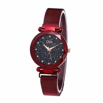 Женские часы на магнитной застежке, красные, b228 (KMA)