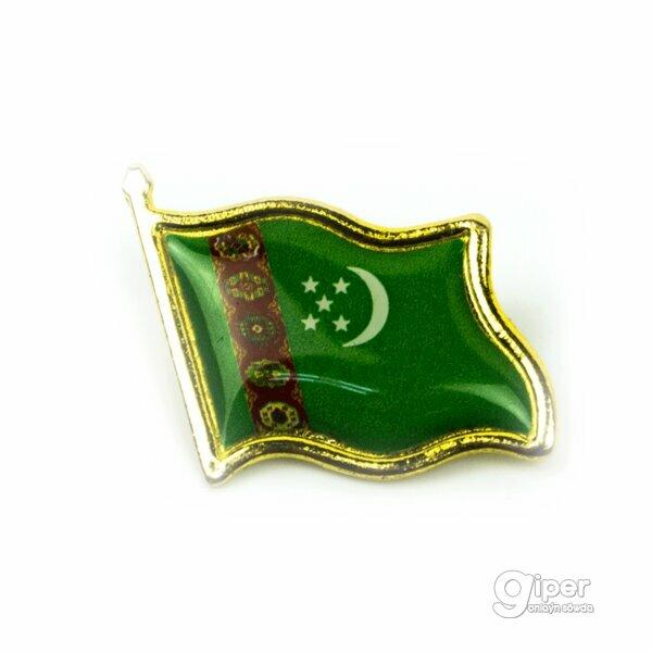 Значок булавка на пиджак флаг Туркменистана